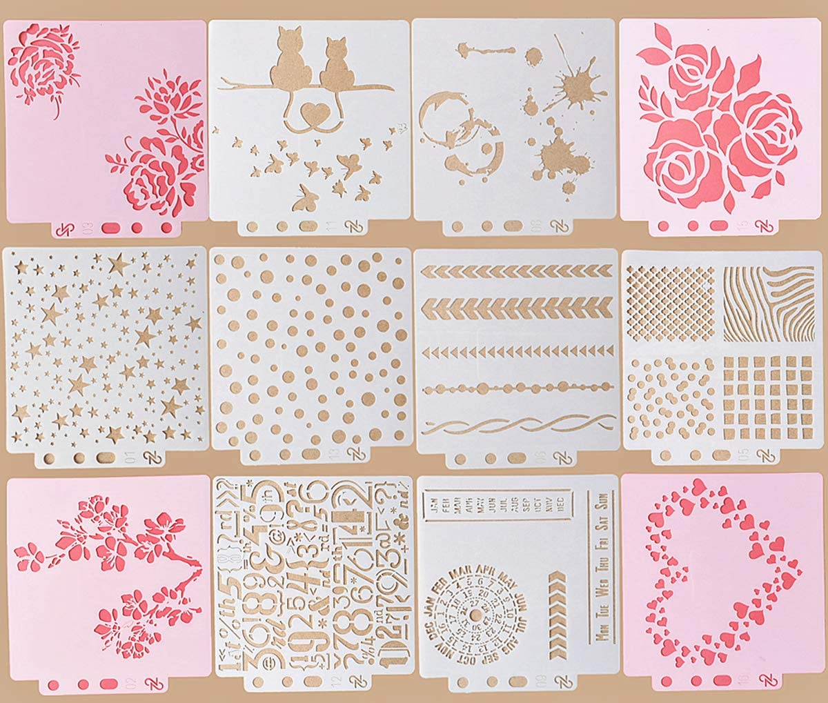 Reusable Plastic Stencil,12 Pack (5.6x5.1 Inch) Different Design Pattern Stencil Flower Lace Digital Drawing Template for Wall Cake Scrapbook Painting Card Making