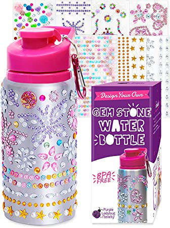 Purple Ladybug Decorate Your Own Water Bottle for Girls with Tons of Rhinestone Glitter