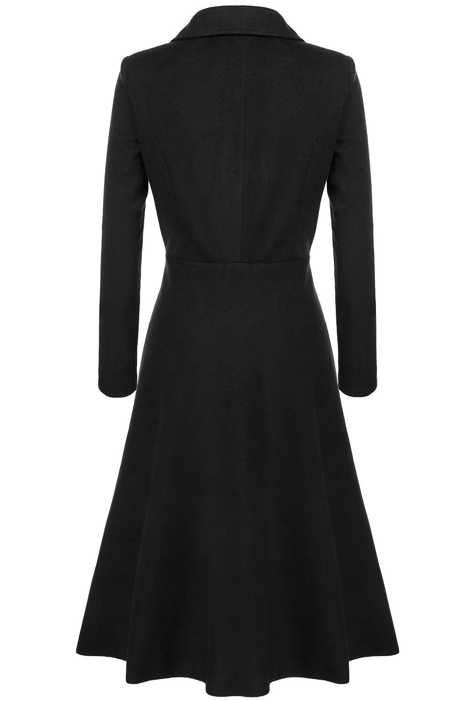 Elever Womens Casual Long Sleeve Turn-Down Collar A-line Flare Hem Wool Blended Dress Blazer Coats