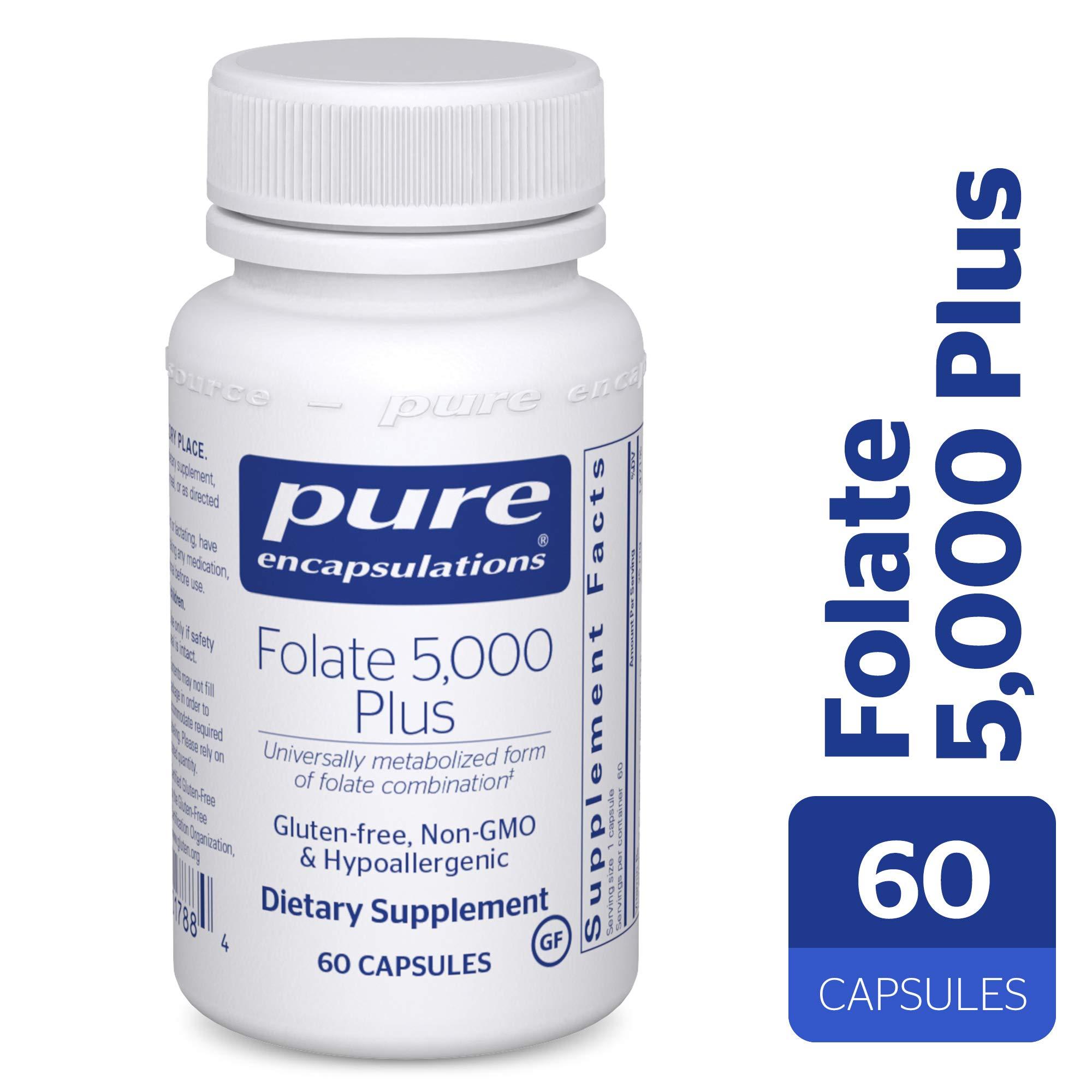 Pure Encapsulations - Folate 5,000 Plus - Activated Folate, Vitamin B12 and B6 Combination - 60 Capsules