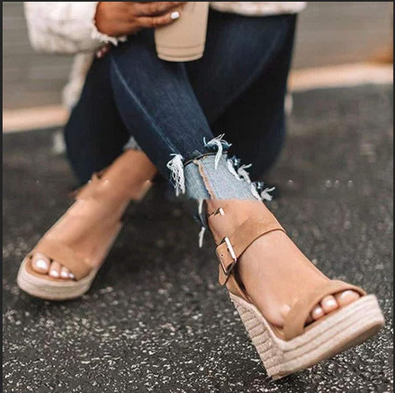 QianQianStore Summer high-Heeled Wedge Hemp Rope Weaving Large Size Ladies Sandals 43 Women Fashion