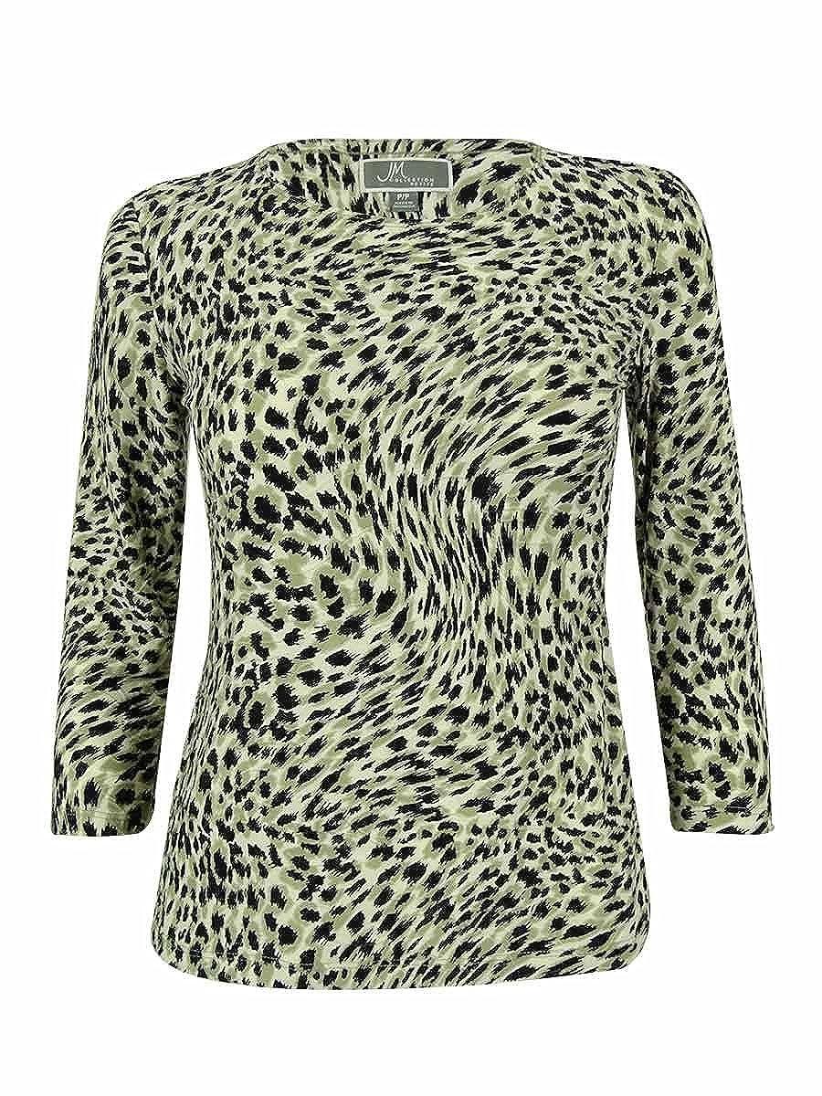 JM Collection Women s 3 4 Sleeve Animal Print Jacquard Top (PP ... 85f4a7c99