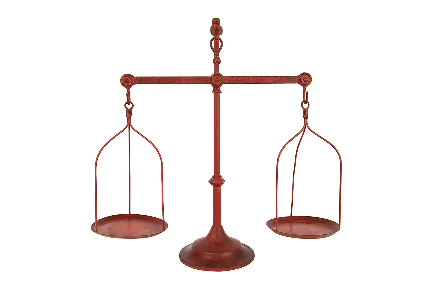 Creative Co-op Decorative Distressed Vintage Metal Scale with Bird Finial, Red