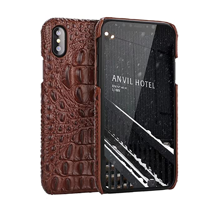 nice shoes 8af83 1784f iPhone X Genuine Leather (Crocodile Texture)Case Cover,Flying Horse Real  Leather Alligator Skin Texture[Ultra Slim Handmade]Back Cover for iPhone ...