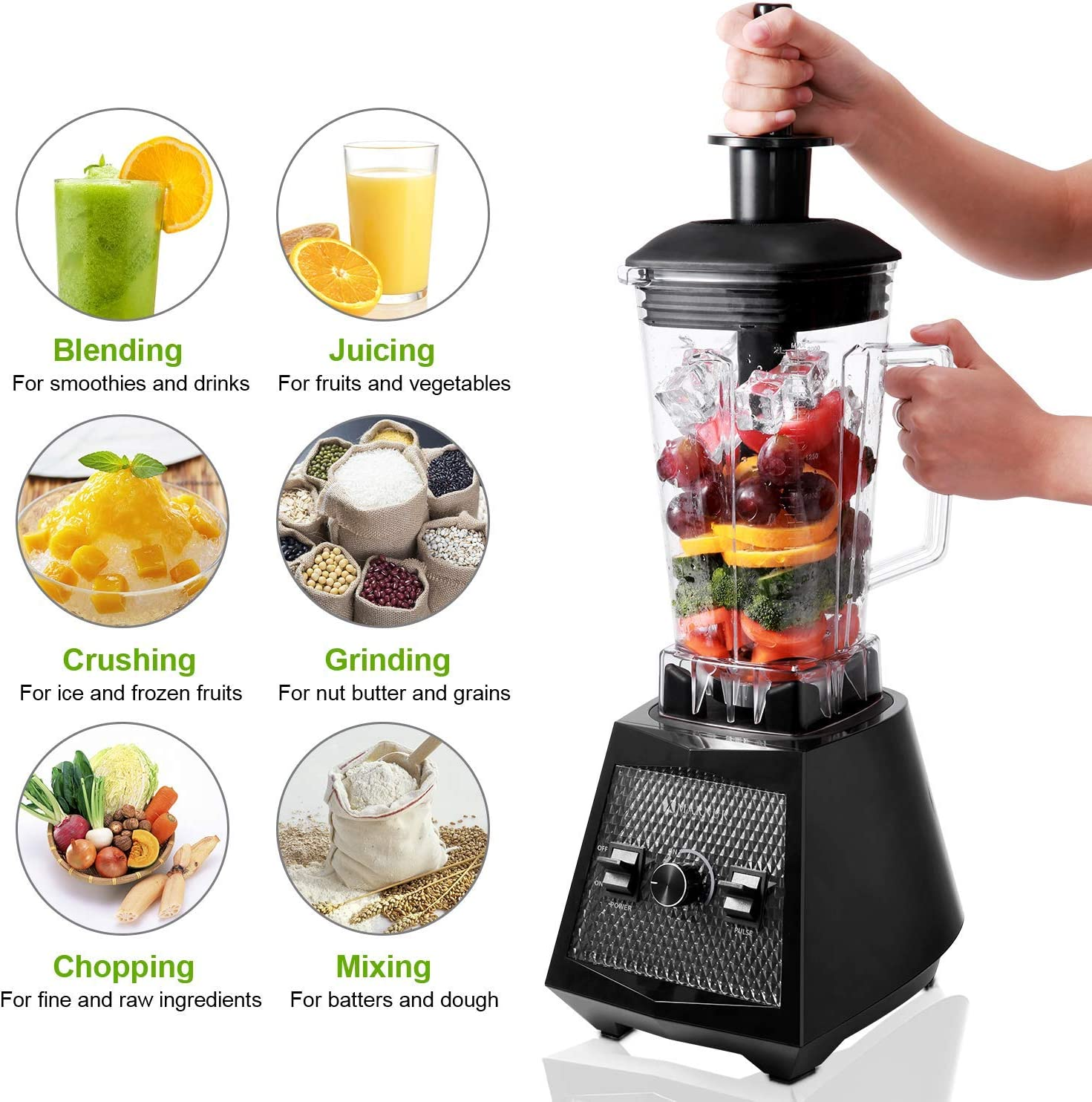 Amazon.com: Smoothie Blenders, 1500W Smoothie Maker, 2L ...