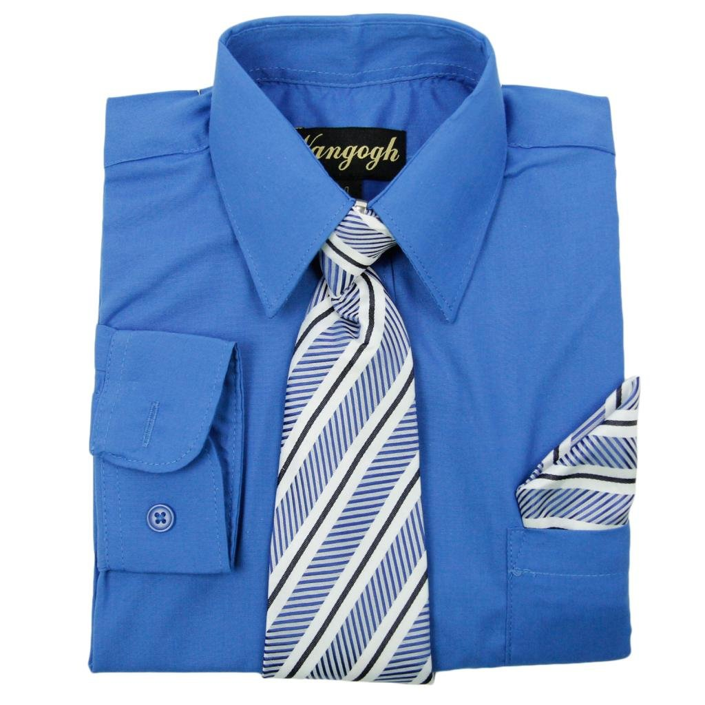 Vangogh Boys Long Sleeve Dress Shirt with Tie and Hanky 2000
