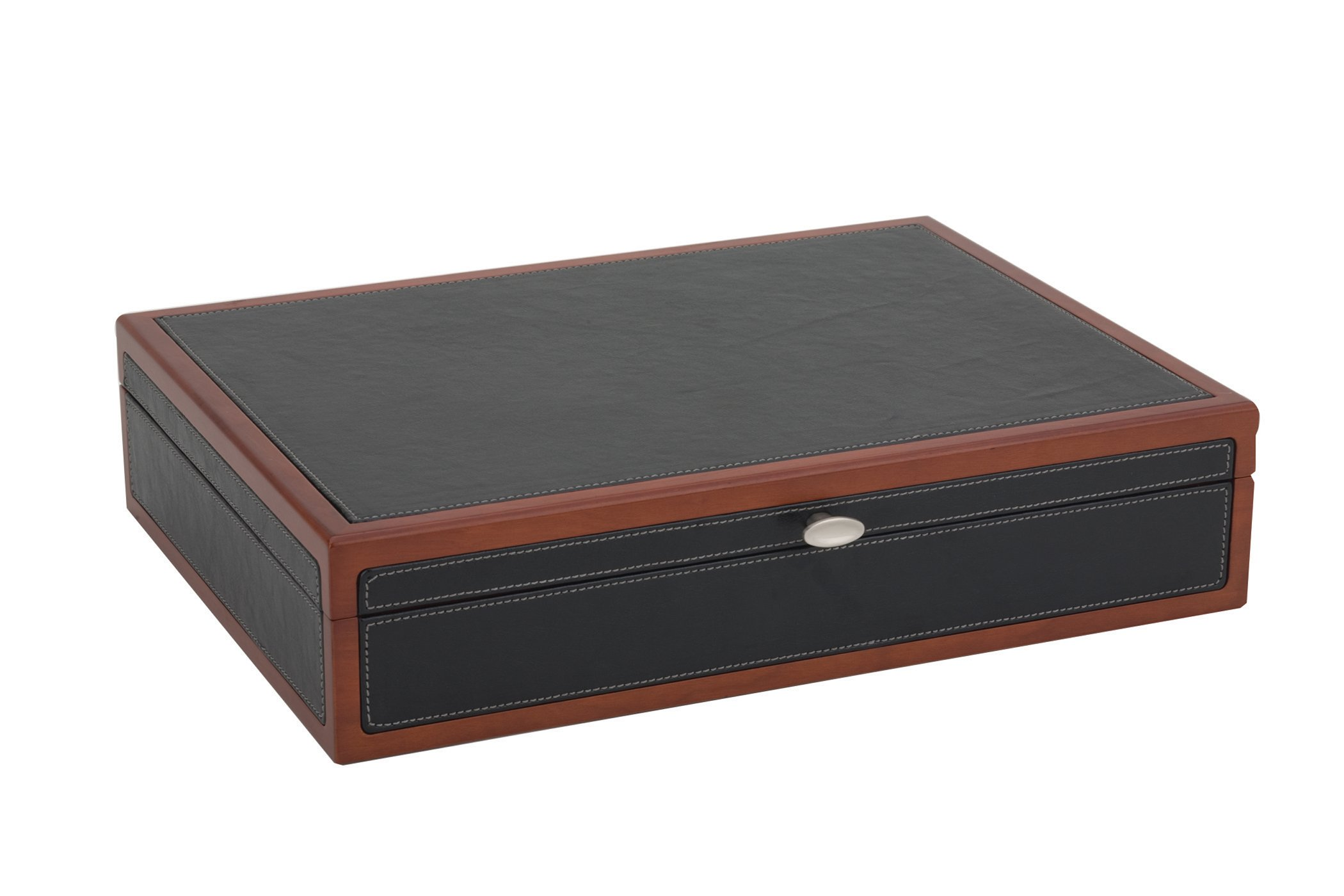 Reed & Barton Adams Flatware Chest, Black Leather with Cherry Trim