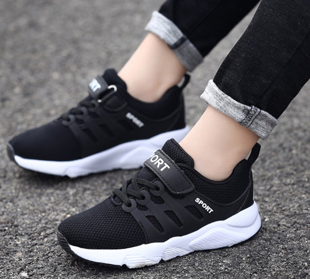 VECJUNIA Boy's Girl's Trendy Low Top Round Toe Anti-Slip Outdoor Sports Shoes (Black Double, 5.5 M US Big Kid) by VECJUNIA (Image #5)