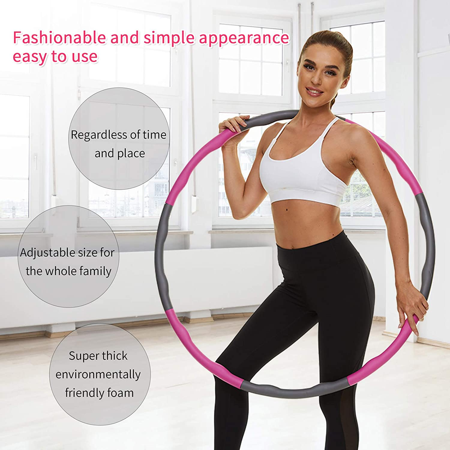 8 Section Detachable Design VETUPIC Weighted Exercise Hoops for Adults Weight Loss 2 Lbs Fitness Hoop