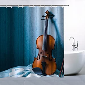 Violin Shower Curtain Decor Brown Cello Blue Background, 70 x 70 Inches Polyester Fabric Waterproof with 12pcs Hooks