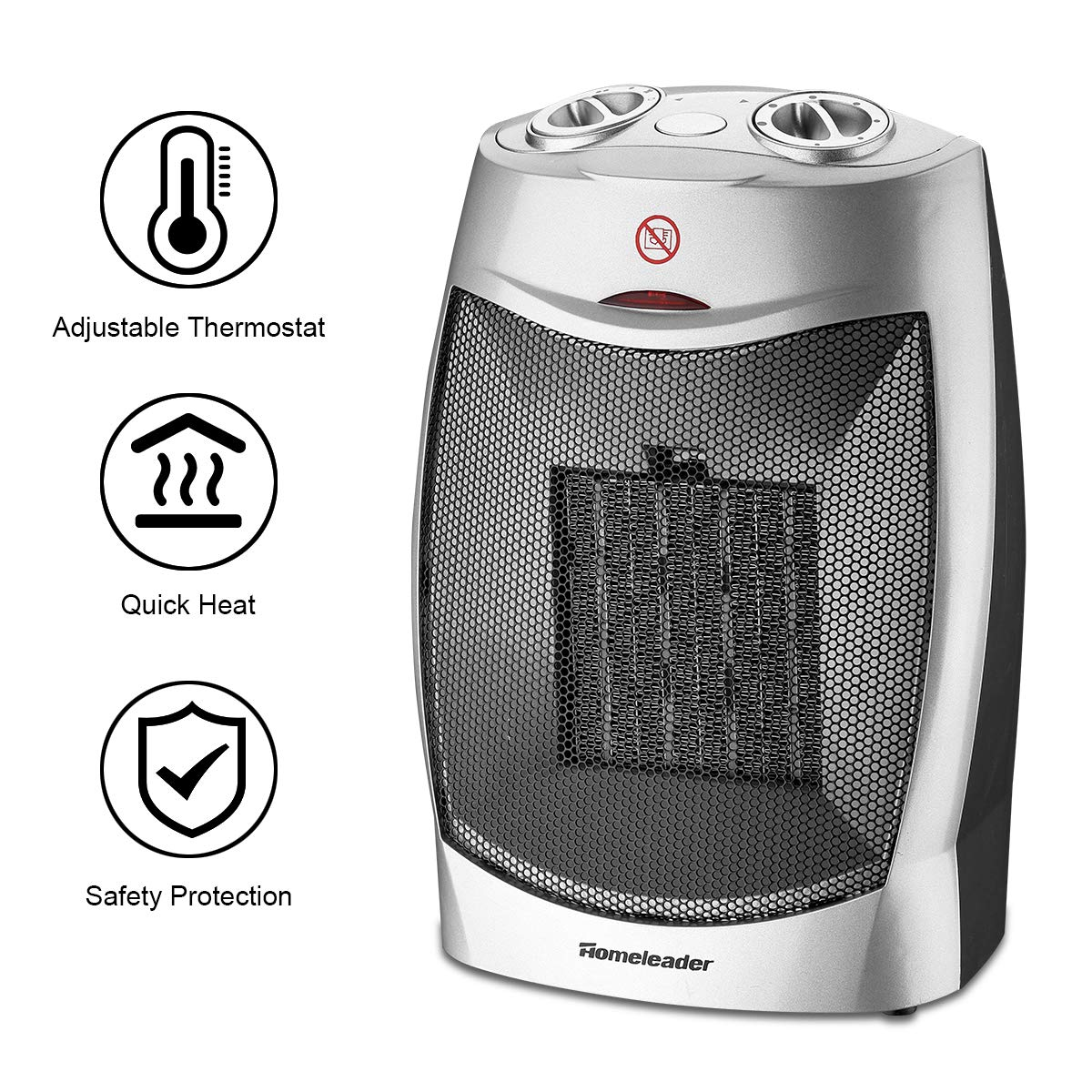 Homeleader Ceramic Space Heater for Home and Office, Portable Electric Heater with Adjustable Thermoststs, 750W 1500W