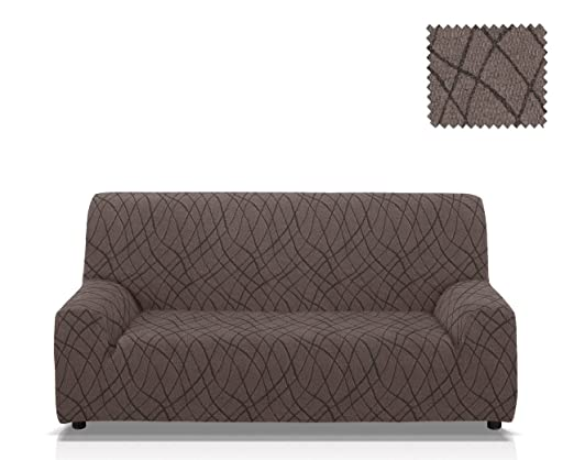 Funda de sofá elástica Mercurio Tamaño 4 plazas (de 205 a 235 Cm.), Color Gris (varios colores disponibles)