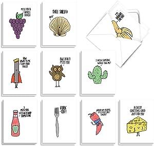 The Best Card Company - 20 Note Cards Blank Assortment (4 x 5.12 Inch) (10 Designs, 2 Each) - Fun Puns AM2975OCB-B2x10