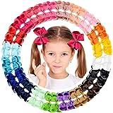"YHXX YLEN 4.3"" 4.5"" 6"" Hair Clip Grosgrain Ribbon Pinwheel Hair Bow Alligator Clips Barrettes for Baby Girl"