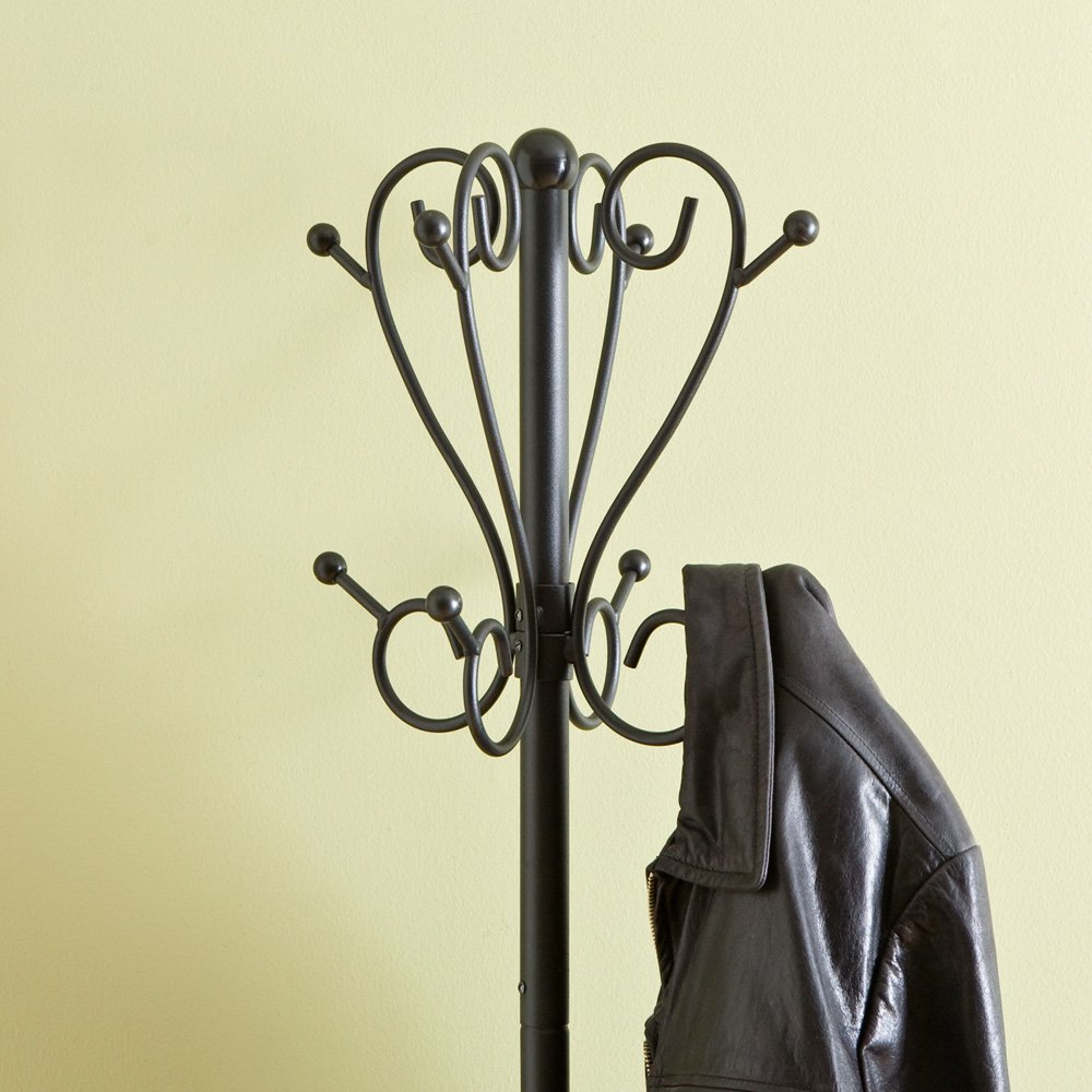 metal coat rack hall tree with umbrella stand matte black finish amazoncouk kitchen home amazoncom alba pmclas chromy