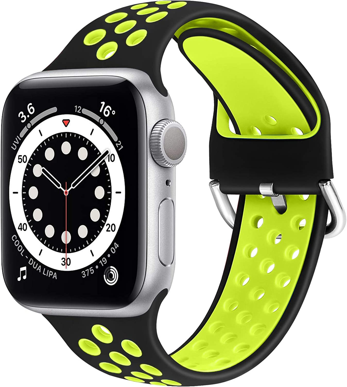 WNIPH Silicone Sports Bands Compatible with Apple Watch Band 42mm 44mm, Soft Breathable Silicone Straps Replacement Wristband for iwatch Series 6/5/4/3/2/1/SE for Men Women (Black Yellow, 42mm/44mm)