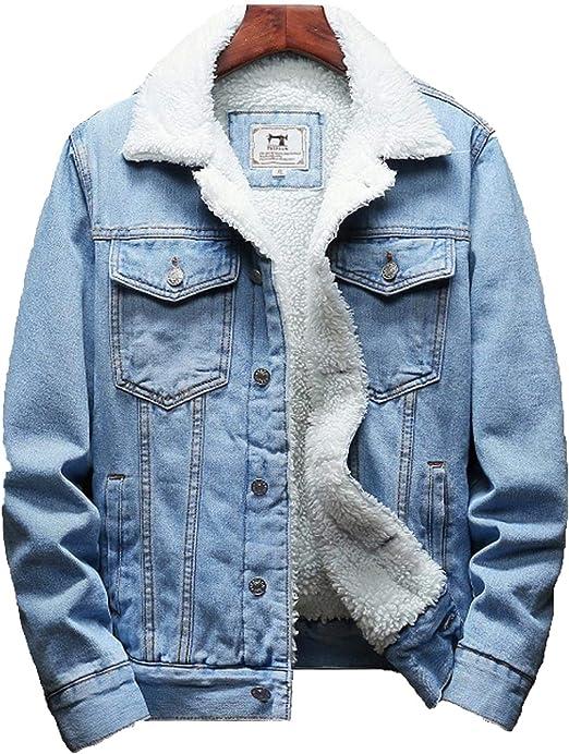 男性の冬のジャンジャケット水色カウボーイアウター暖かいデニムコート新しいメンズウールライナー厚いフリースデニムジャケットプラスサイズ6XL