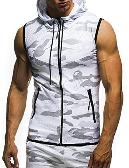 Amazon.com: MeterMall Unique Style Mens Camouflage Printed Drawstring Zipper Slim Fit Sleeveless Hoodie White M: Clothing