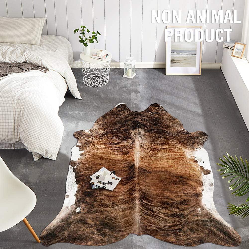 JINCHAN Cowhide Area Rug Faux Leather Animal Printed Soft Mat Safari Rug Indoor for Bedroom Living Room 5'1