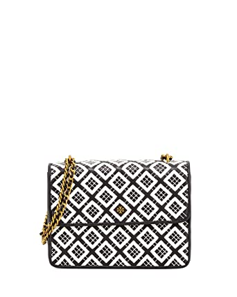 d4168f724ab Image Unavailable. Image not available for. Color  Tory Burch 44709 Robinson  Woven-Leather Chain Wallet Black Ivory ...