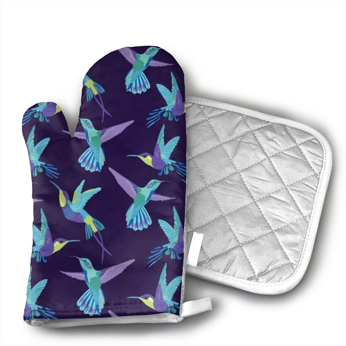 UYRHFS Dark Purple Background - Hummingbird Oven Mitts and Pot Holder Kitchen Set with, Heat Resistant, Oven Gloves and Pot Holders 2pcs Set for BBQ Cooking Baking