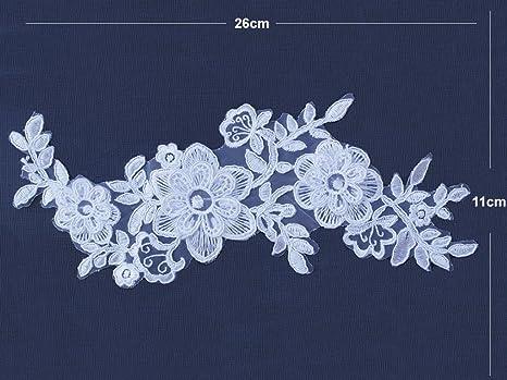 b166f1fc5 1 par de flores 3d color blanco diseño de encaje floral con encaje de  flores de