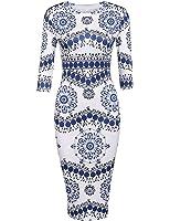 Locryz Women's Porcelain Print Work Business Pencil Dress Vintage Floral Print Sheath Dresses