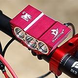Nestling® 5000lm CREE XM-L U2 2 LED Lampe de vélo Bike Light Phare Lampe frontale Torche Lampe de poche Avant Light étanche + rechargeable Li-ion Batterie (8.4V, 7200mAh, 4 x 18650, Noir)