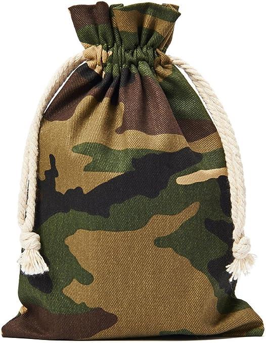 10 bolsas de algodón en óptica de camuflaje. Con cordón para cerrar, tamaño 23x15 cm, 100% algodón, bolsita de algodón, bolsa de regalo: Amazon.es: Juguetes y juegos