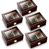Groomsmen Gifts Set of 5 Personalized Mahogany Trinidad Glass Top Humidors - Circle
