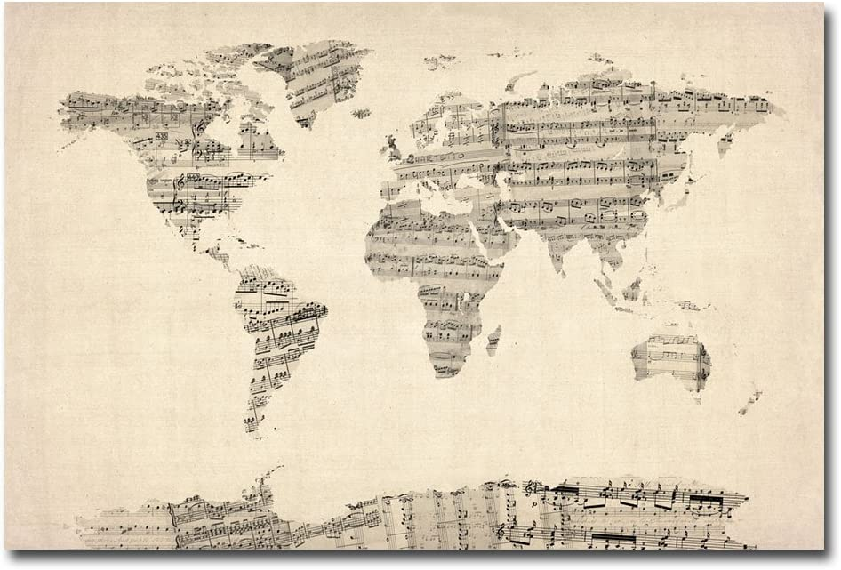 sheet music world map Amazon Com Old Sheet Music World Map By Michael Tompsett 16x24