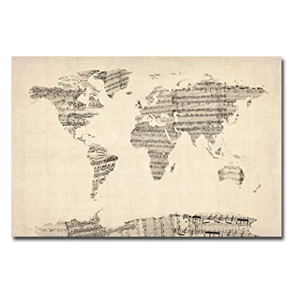 Amazon old sheet music world map by michael tompsett 22x32 old sheet music world map by michael tompsett 22x32 inch canvas wall art publicscrutiny Image collections