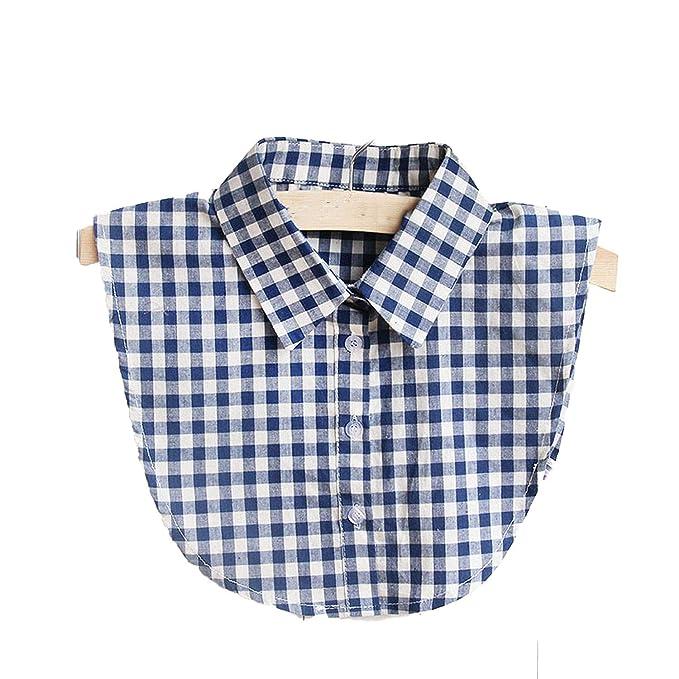 Collar falso para mujer, camisa blanca falsa a cuadros para mujer ...