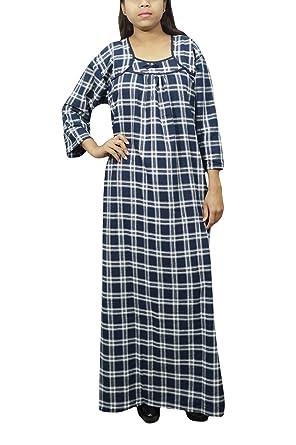 Indiatrendzs Women Winter Sleepwear Nighty Check Print Dark Blue Gown XXL   Amazon.in  Clothing   Accessories d9bef23b5