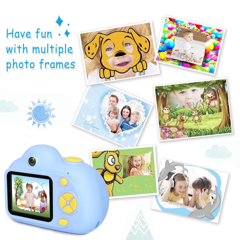 Bleu 16G TF Carte Zoom x4 Flash 81g Appareil Photo pour 3 /à 10 Ans Objectif Avant et Arri/ère 8 Mpixels LeaderPro Appareil Photo Enfant Num/érique Cam/éra pour Enfant 4400 images//80min vid/éo