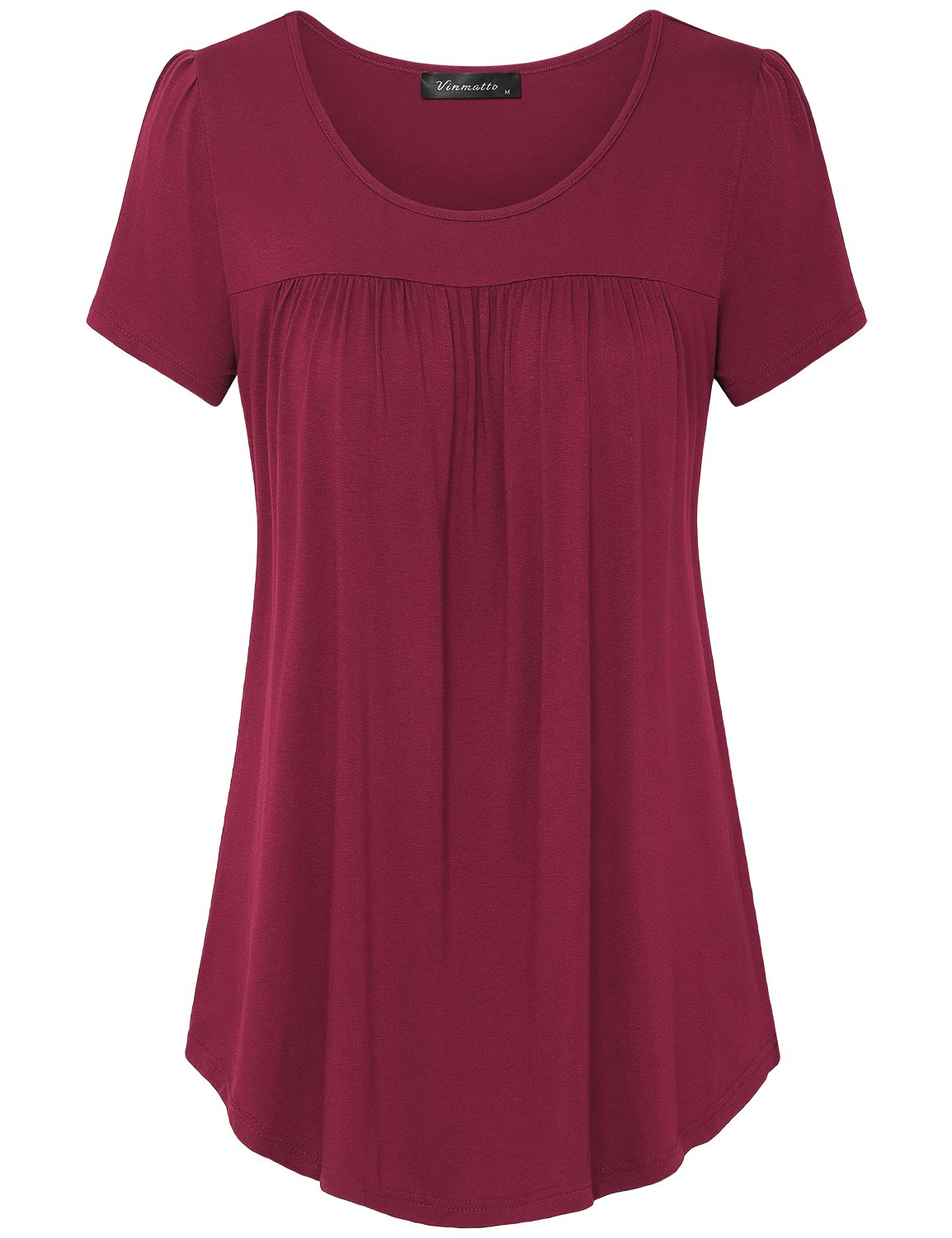Vinmatto Women's Scoop Neck Pleated Blouse Top Tunic Shirt (XL, Purple Red)