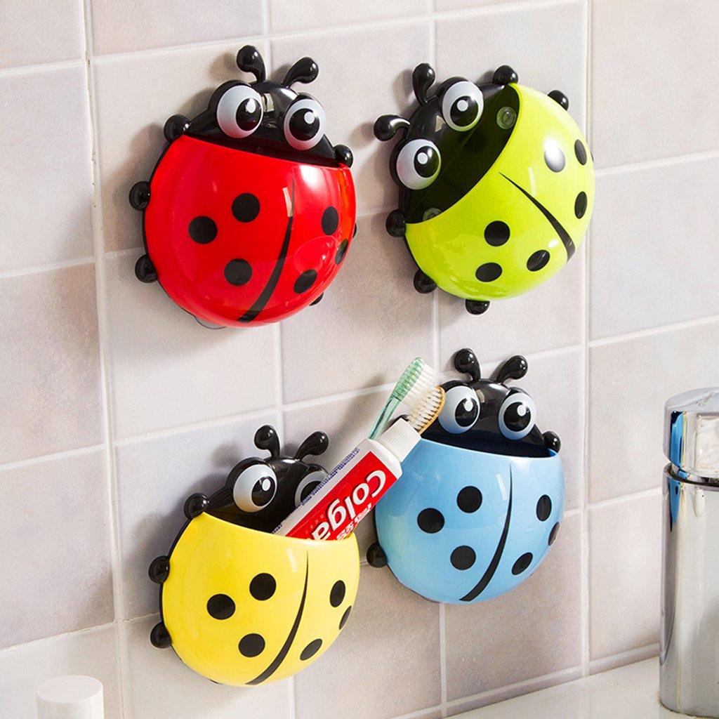 Soporte de pared para cepillo de dientes de mariquita con ventosa para el hogar o el ba/ño amarillo