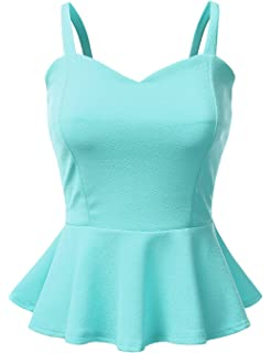 a479c70fc3 Doublju Sleeveless Solid & Printed Peplum Top for Women with Plus Size