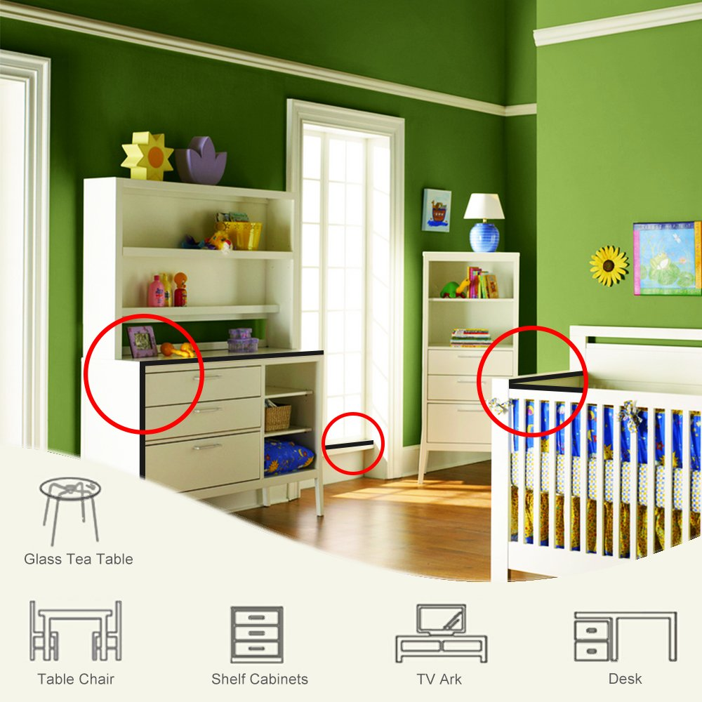 Tritina Corner and Edge Guards - 14ft (4.3m) [ 13ft Edge Cushion + 8 Corner Cushion ] Premium Childproofing Protector,Child Safety,Home Safety 1st Mamami (Black) by Tritina (Image #6)
