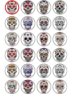 Sugar Skulls Edible Cake Decorations Stand Up Wafer Cupcake