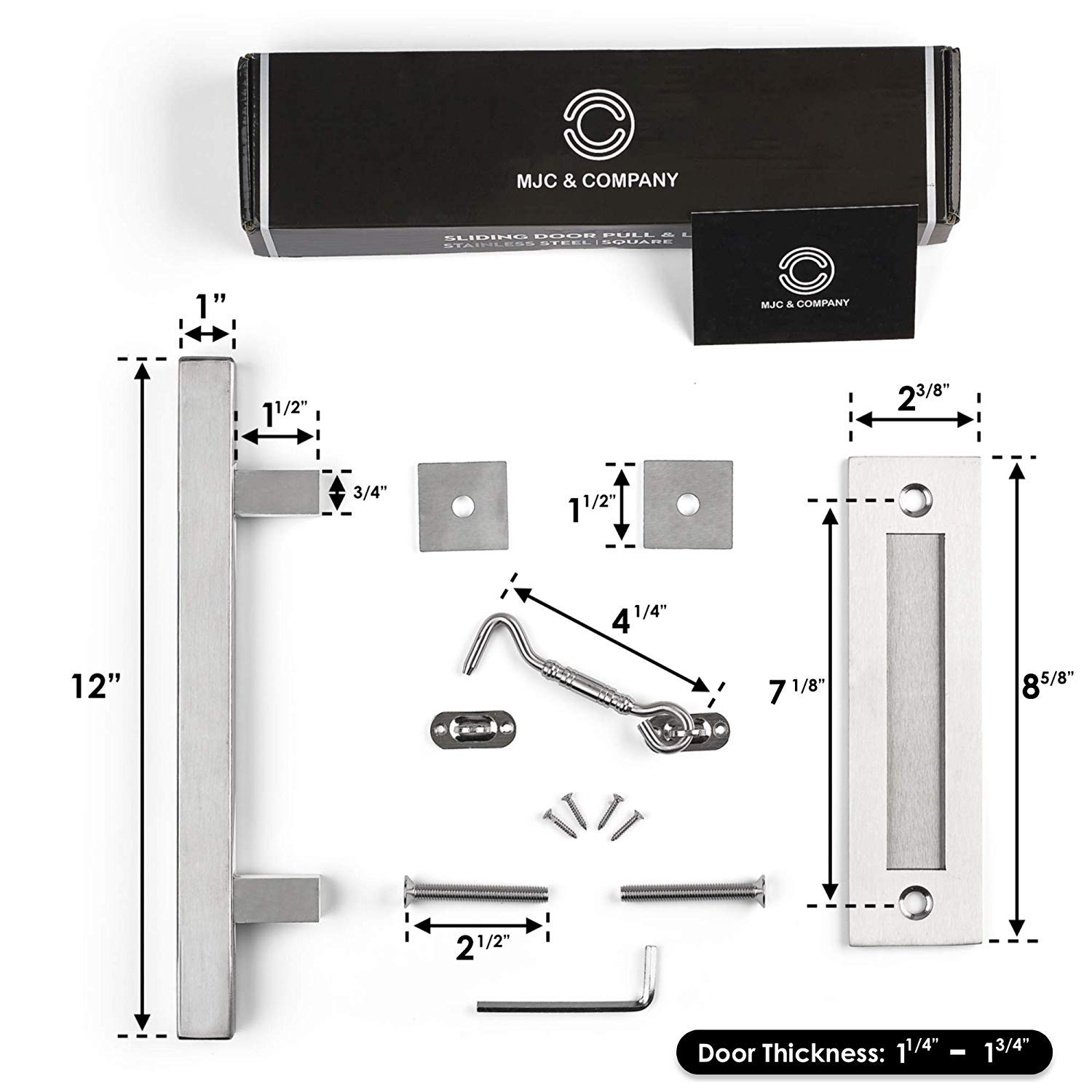 12 Round Sliding Barn Door Handle Pull Kit with Flush Mount Plate /& Cabin Hook Lock Strong Industrial Pull /& Privacy Latch Heavy-Duty Modern Matte Black Hardware Set MJC /& Company