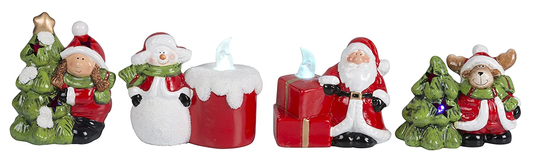Christmas Gifts 88087-Set di 4 Personaggi di Natale, CE 1 LED, Colore: Bianco