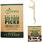 Natural Dental Floss Picks - Eco Friendly Cruelty Free & Vegan Tooth Flossers Pick Set with Biodegradable and Compostable BPA