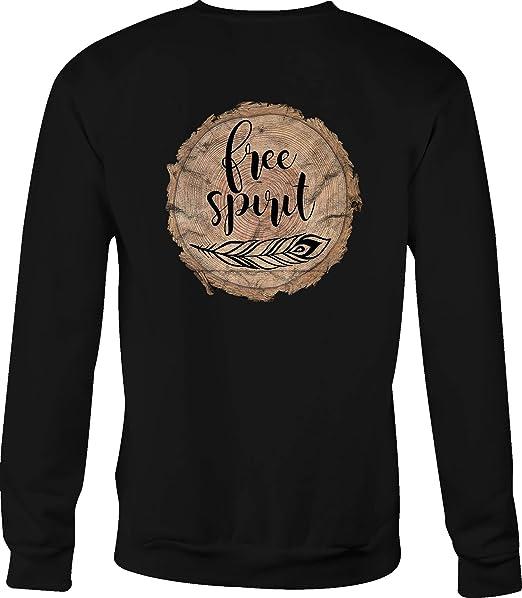 Crewneck Sweatshirt Free Spirit Tribal Feather Wood Series Log Tree