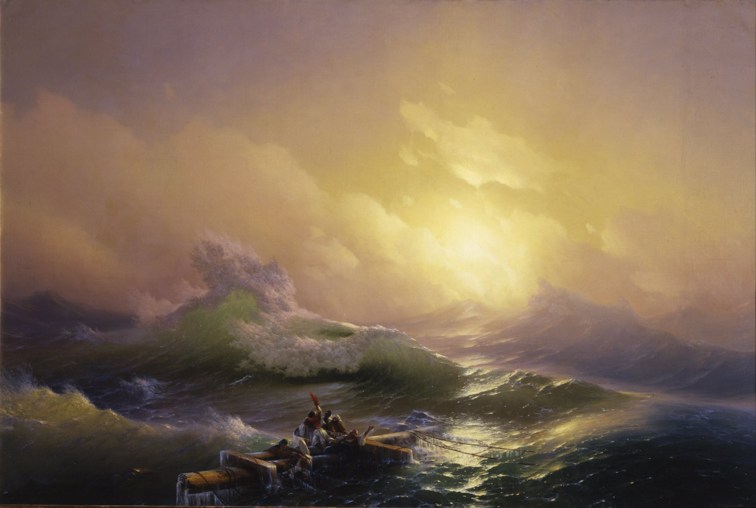Hovhannes Aivazovsky - The Ninth Wave Purple hue - Large - Matte - Black Frame Vintage Wall Art Poster Picture Giclee Artwork Modern Contemporary & Fine Art Print