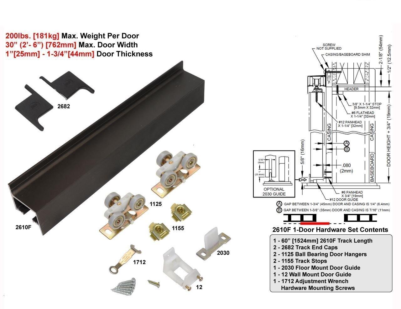 2610B Wall Mount Barn Door Type Sliding Door Hardware 96'' - Anodized Bronze
