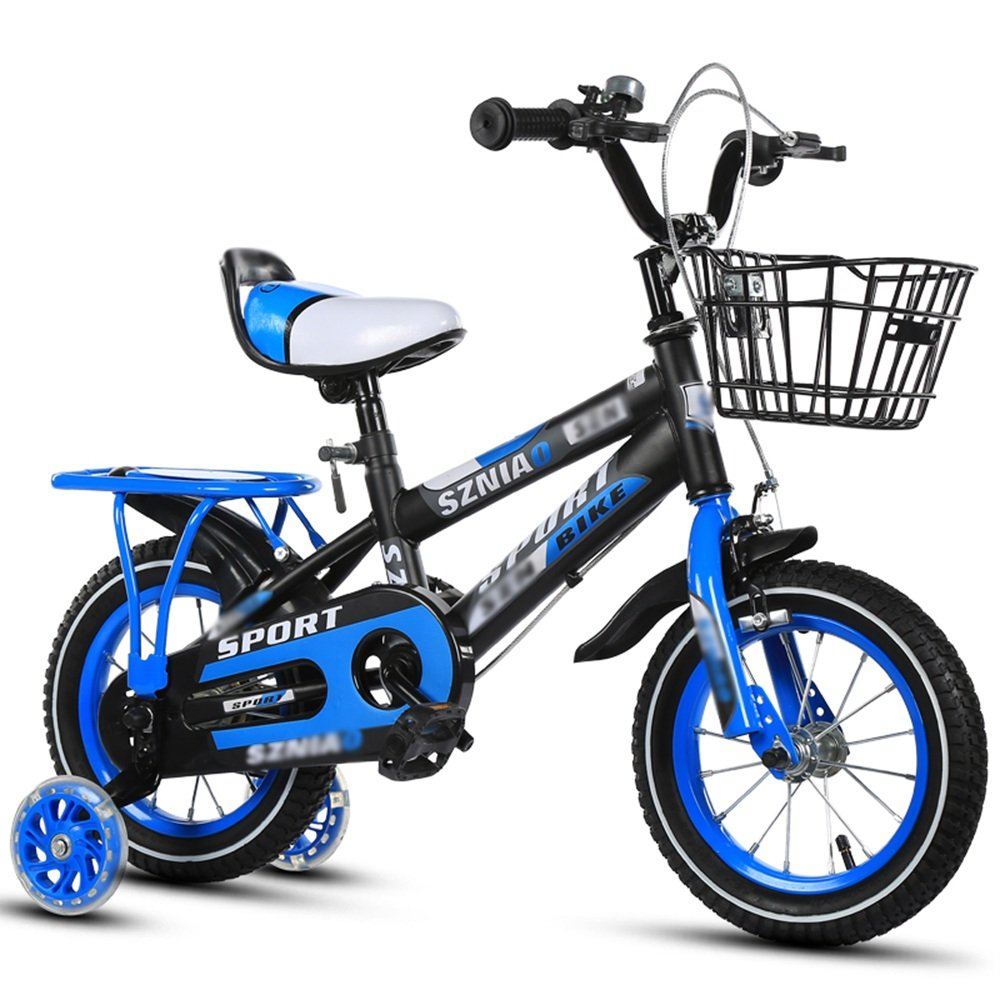 HAIZHEN マウンテンバイク 子供用自転車 ブルーレッドオレンジ サイズ:12インチ、14インチ、16インチ、18インチ 発光補助ホイール 新生児 B07CG29ZP8 16 inch|青 青 16 inch