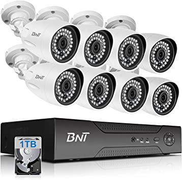 Wired Security Camera System,Firstrend 5MP Ultra HD Wired Home Surveillance System with 8CH 5MP DVR and 4pcs Indoor Outdoor Weatherproof CCTV Cameras 1TB HDD Night Vision Motion Detection Free APP
