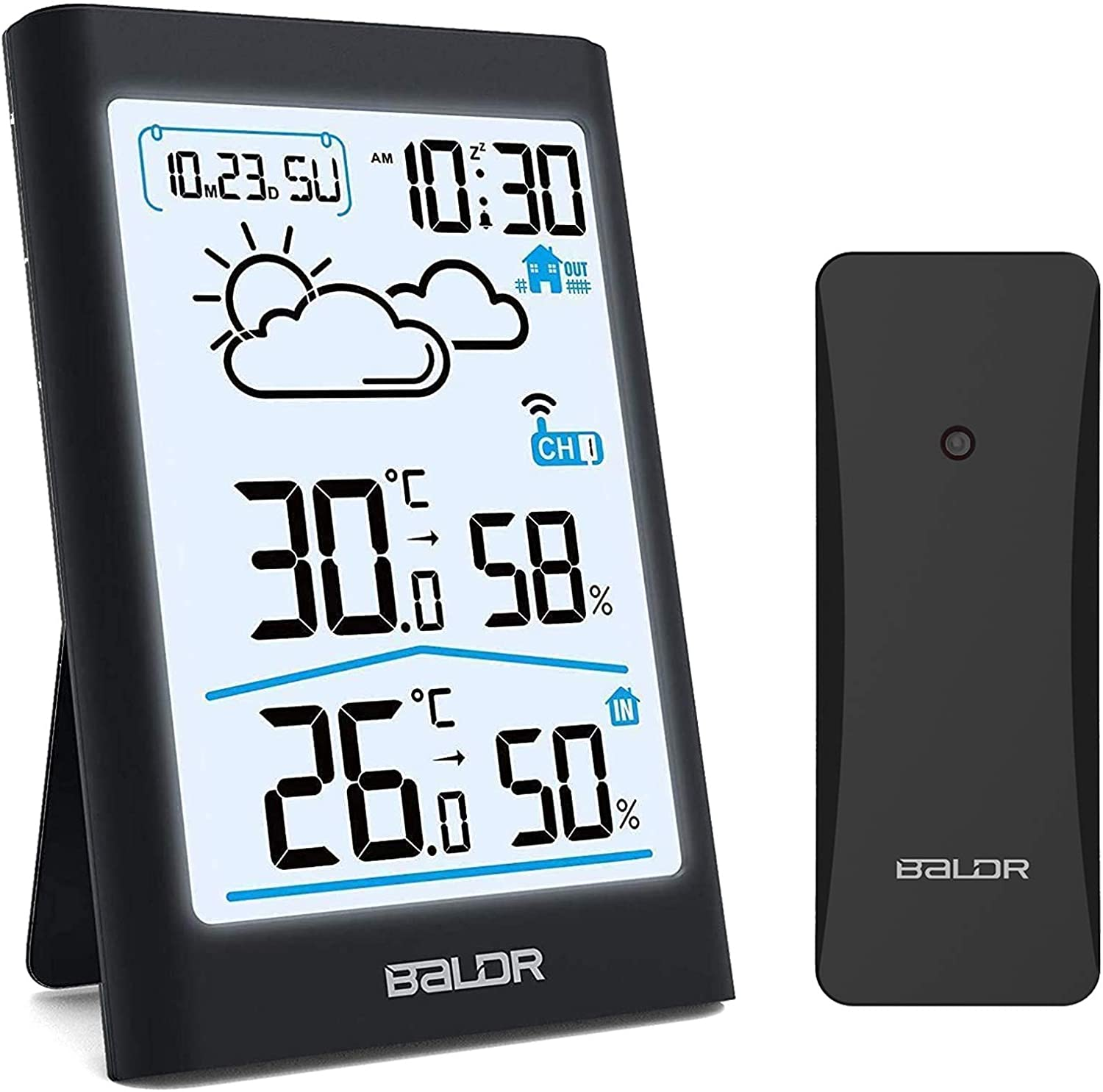 BALDR Weather Station, Wireless Digital Indoor Outdoor Thermometer Hygrometer with Backlight LCD Display and External Sensor, Ideal for Weather Forecast Monitoring, Alarm Clock (Black)