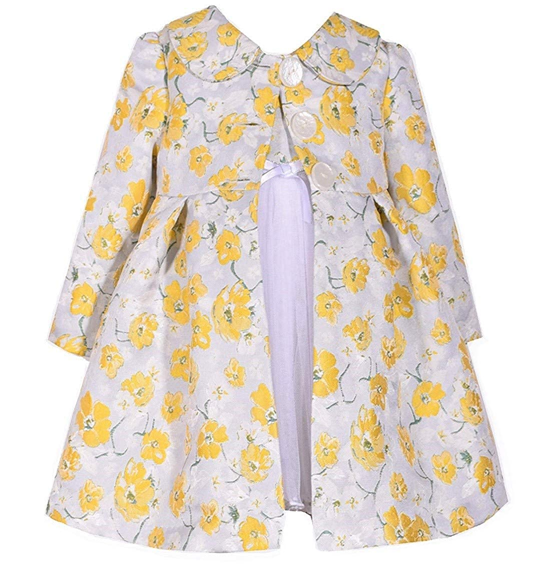 Kids 1950s Clothing & Costumes: Girls, Boys, Toddlers Bonnie Jean Baby Toddler 12M-4T Yellow Floral Brocade Dress Coat Set $32.90 AT vintagedancer.com